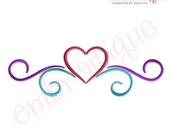 Simple Heart Flourish Border - Small- Instant Email Delivery Download Machine embroidery design