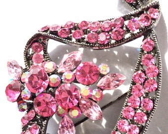 Hot Pink Vintage Ribbon Rhinestone Brooch