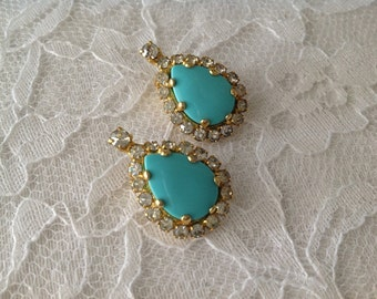 Kenneth Lane Designer Clip On Earrings  ~ Vintage Turquoise and Rhinestones ~ Gold Colored~ Ladies designer Earrings~ Gift giving ideas