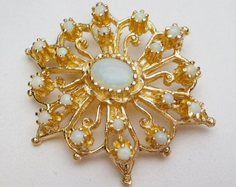 14kt Opal Medallion Pin/Pendant Yellow Gold