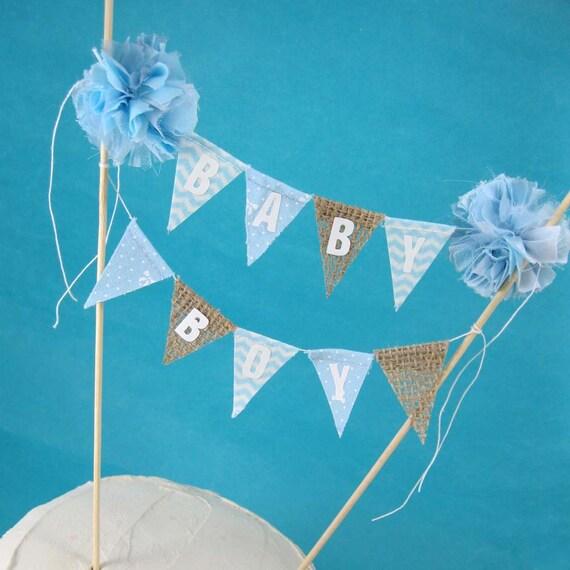 burlap cake banner topper baby shower baby boy a037 baby shower