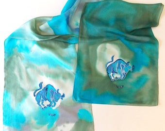 Silk Scarf, Astrological Sign Taurus,,Blues,Greens, Accessories,or Table Runner/Scarf Unisex,Handmade,15x72inches