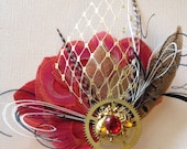 5 Steampunk Bumblebee Red and Gold Peacock Feather Fascinator Clip OOAK