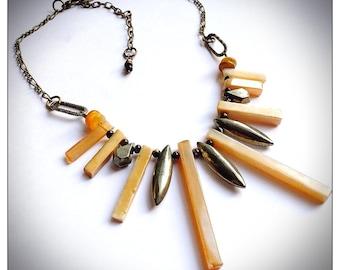 Boho gemstone statement fringe necklace, agate, pyrite, unique ooak, statement gemstone choker,