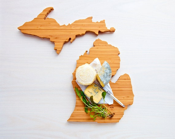 Michigan Cutting Board 4th of july Gift Personalized engraved Michigan cheese state shaped board