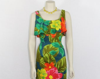 Vintage 1960s Hawaiian Dress - Wildly Bright Summer Resort Wear Dress - 32 / 26 / 34