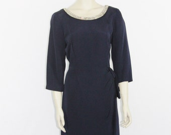 1940's Dress - Vintage Women's Navy Blue Crepe with Rhinestone Trim Dress - 40 / 32 / 42