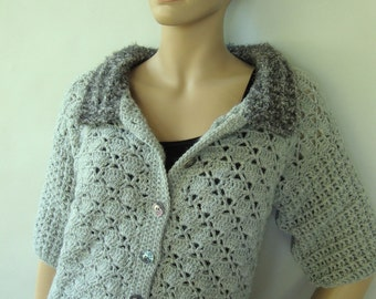 Crochet Cardigan, Gray Cardigan, Cardigan, Cardigans, Alpaca Sweater, Women's Cardigan Sweaters, Women's Jacket, Available in S/M