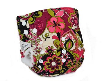 Cloth Diaper Cover OS - Retro, flowers, pink, side snap