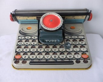 Vintage Typewriter Toy 1950s Tin Litho Unique Dependable Uneek Artie Childrens Childs USA