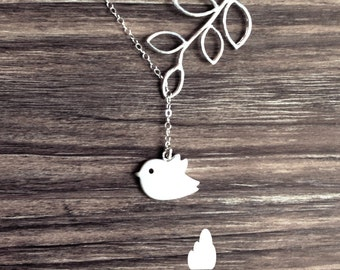Simple Bird and Branch Lariat - Silver Necklace - Dainty little silver grey bird and Branch - Perfect Gift - Sterling Silver Chain