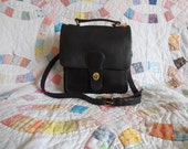 Vintage COACH Black Leather STATION Messenger CROSSBODY Bag Purse Handbag 5130