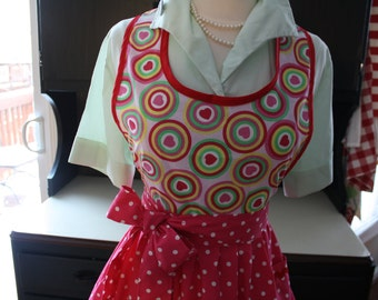 "Retro Apron ""SWEET VALENTINE"" Valentine's Day Hearts Pink Red Polka Dots"