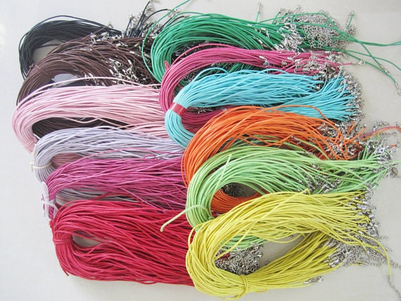 custom order--150 pcs Long size 1.5mm 22-24 inch adjustable assorted waxed cotton necklace cords with lobster clasp.