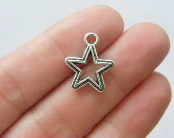 12 Star charms  antique silver tone S30.