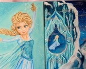 Frozen Queen Elsa- Princess Art work Paintings  on 8x10 Canvas/Nursery/Kids/ For the home/ Girls Room/ Home Decorating- Set of Two