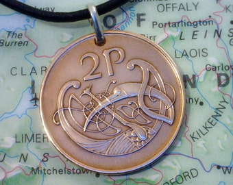 IRELAND Coin Pendant  ( 2 Pence Coin ) - Coin Jewelry w/ Real Leather Necklace &  Lobster Clasp - 4b2