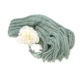 Chunky Scarf, Knit Scarf, Hand Knit Scarf, Green Scarf, Seafoam Green, Winter Scarf, Women, Fiber Art Fashion