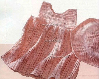 CROCHET PATTERN - Baby Sundress//Dress and Hat - PDF - Bebe Easy make - Birth to 12 months