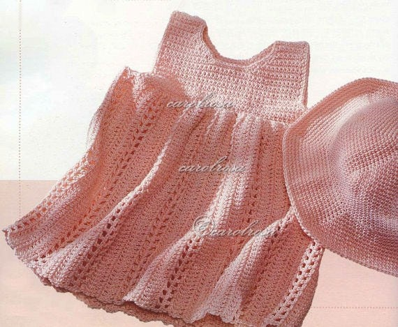 CROCHET PATTERN Baby Sundress//Dress and Hat PDF Bebe