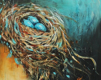 Bird Nest painting 8x10 art print matted 11x14 mixed media red orange teal blue bird nest