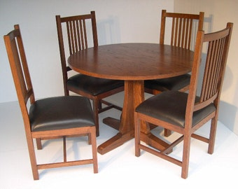 Mission Arts and Crafts Stickley Style Prairie Dining Dinette 5PC Set