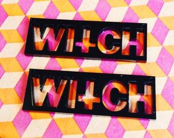 2 x Laser cut acrylic Witch pendants
