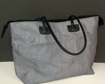 Zippered Mesh Tote Bag w/Leather Handles
