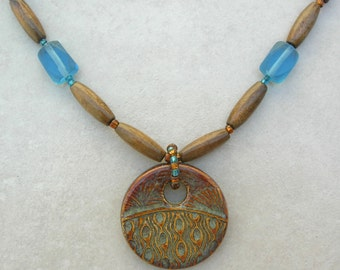 African Swazi Ceramic Pendant, Old Blue Afghan Glass, Copper & Wood Beads, Necklace by SandraDesigns