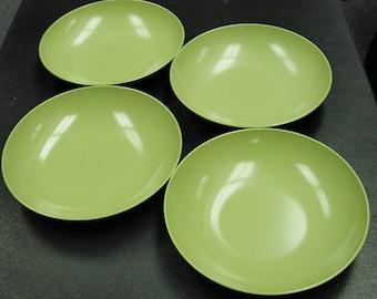 Vintage Melmac Style Serving Bowls Set of 4 AVOCADO GREEN Dinnerware