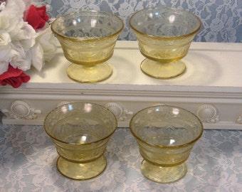 Vintage Federal Amber Depression Glass Patrician Spoke Sherbets Set of Four, 1920s Antique Glass Dinnerware, Vintage Kitchen Glass