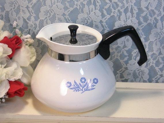 Vintage Corning Ware Pyroceram Blue Cornflower 3 Cup Teapot