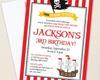 Pirate Party Invitations - Professionally printed *or* DIY printable