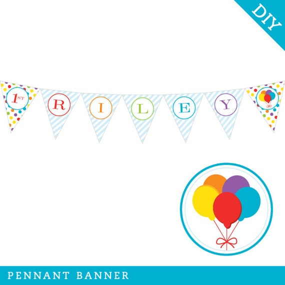 Balloons Party Personalized DIY Printable Pennant By Chickabug