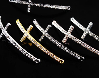 5pcs 48X15mm Metal Alloy Crystal Rhinestone Thin Cross Bracelet Connector Charms Jewelry Making --- 3 Colors DZ037