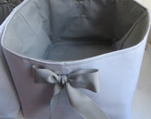 """Basket Storage Container Organizer 13"""" wide x 15"""" deep x 12"""" tall Use your fabric for lining matching blue bow"""
