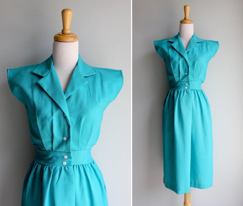 Vintage Teal Linen Day Dress