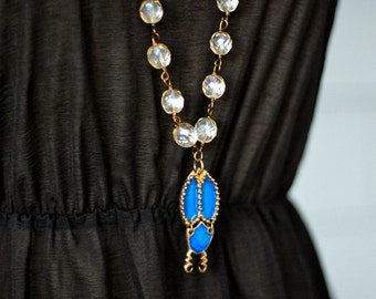 Cerulean Blue Scarab Necklace in Bronze. One of a kind. Vintage Glass Beads.