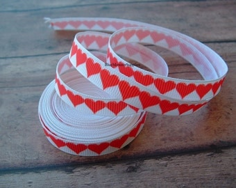 5 Yards 3/8 Inch Red Hearts Grosgrain Ribbon