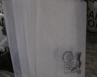 flea market-inspired vintage shoe advertisement glassine sacks set of 7
