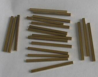 Brass Square Rods  20 pieces 1 oz