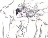 Mermaid Lovers ORIGINAL Drawing Sketch Mermaids on Etsy