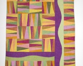 "Quilted Wall Hanging in Purple, Green, Gold and Brown - ""Autumn Forest"""