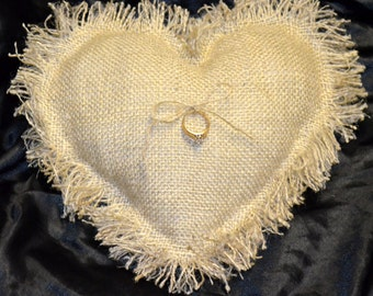 Country Chic Heart Burlap Ring Bearer Pillows
