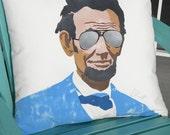 "Outdoor pillow Abraham Lincoln coolest President ever 20"" (50cm) U.S. President Honest Abe Kentucky log cabin Crabby Chris Original"