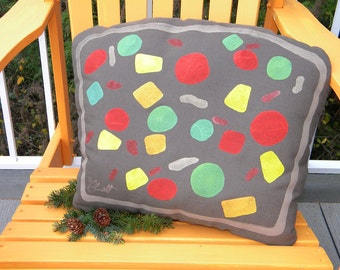 """Fruitcake Christmas pillow cake slice holiday food cherries nuts citron tradition foodie baker chef 15""""x20"""" (38x50cm) Crabby Chris Original"""
