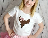 Girls Brown Fox Shirt with Pink Polka Dot Bow