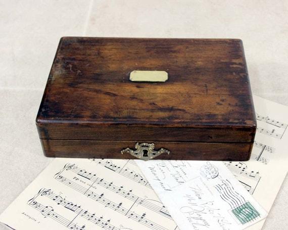 Vintage  Wood Stamp Box / Jewelry Box / Desk Organizer