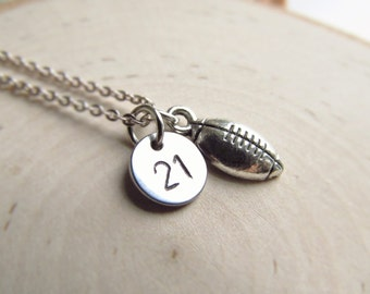 Football Girlfriend Necklace, Jersey Number with Football Charm, Football Mom Jewelry, Personalized Sports Necklace, Football Mom Necklace