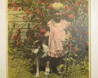 Antique Hand Tinted Photograph of a Little Girl with Her Dog Roses 1930s Painted Colored Picture